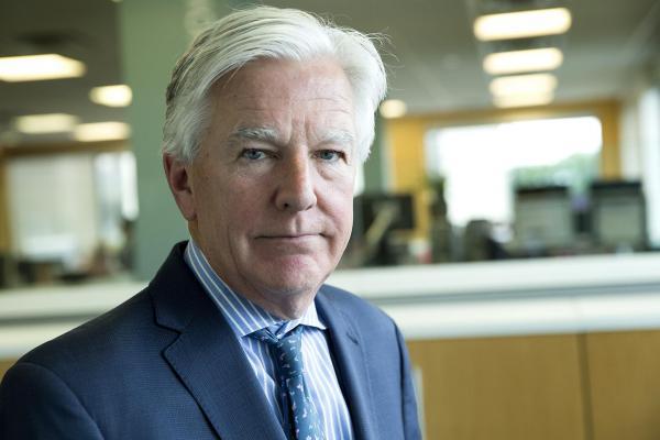 Marty Meehan, president of the University of Massachusetts, at WBUR. (Robin Lubbock/WBUR)