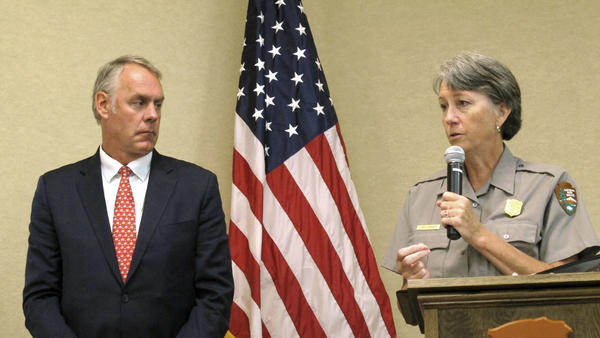 Grand Canyon National Park Superintendent Christine Lehnertz, seen in 2017 with then-Interior Secretary Ryan Zinke, was recently cleared of allegations of workplace harassment.