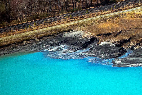 This 2014 image shows a coal ash pond in North Carolina owned by Duke Energy.