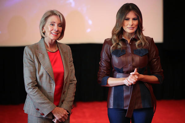 "First Lady Melania Trump and Education Secretary Betsy DeVos host 30 local sixth-grade students from Digital Pioneers Academy for a screening of the motion picture 'Wonder'  at the White House in October 2018 in Washington, DC. The First Lady's office said ""the movie celebrates October's National Bullying Prevention Month by highlighting the importance of choosing kindness – a core belief of Mrs. Trump's Be Best campaign"""
