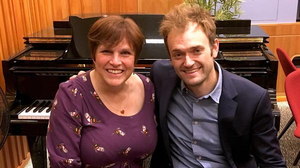 <em>The Thistle & Shamrock</em>'s Fiona Ritchie and musician Chris Thile.