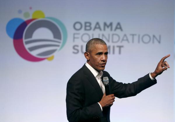 Former President Barack Obama addresses a crowd during the first session of the Obama Foundation Summit in Chicago on Oct. 31, 2017.