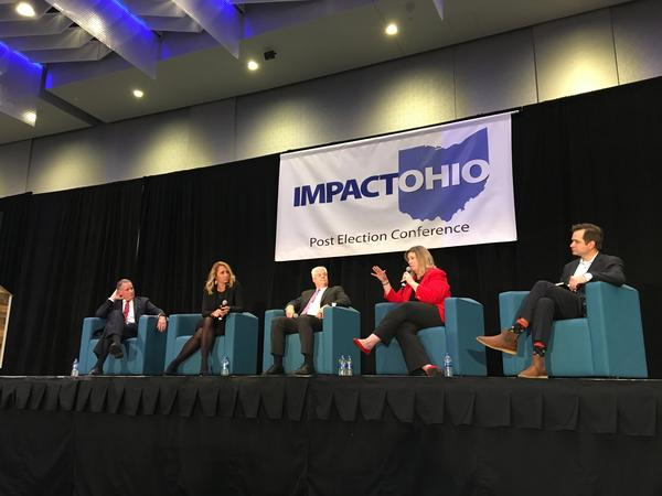 Dayton Mayor Nan Whaley (in red) at a post-election event in November, also featuring ex-Ohio Republican Party chair Kevin DeWine, former Findlay Mayor Lydia Mihalik, former Success Group president Dan McCarthy and Obama Ohio campaign mgr Aaron Pickrell.