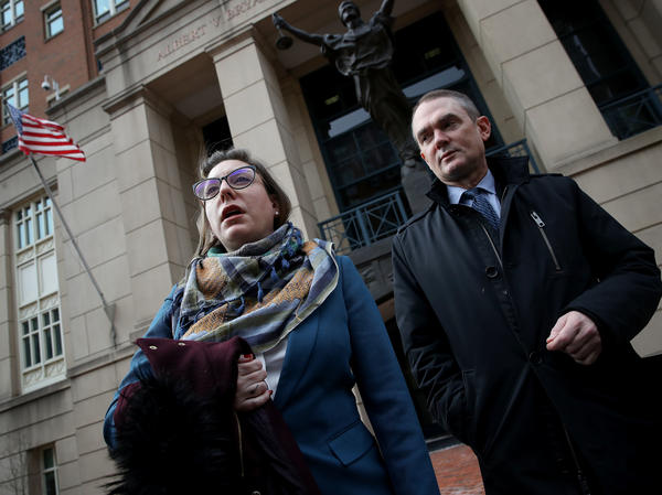 Attorneys for Chelsea Manning — Moira Meltzer-Cohen, left, and Christopher Leibig — speak after she was taken into custody after refusing to answer questions from a federal grand jury investigating the release of documents to WikiLeaks.