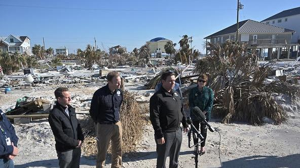 Gov. Ron DeSantis tours the destruction from Hurricane Michael in Mexico Beach in January.