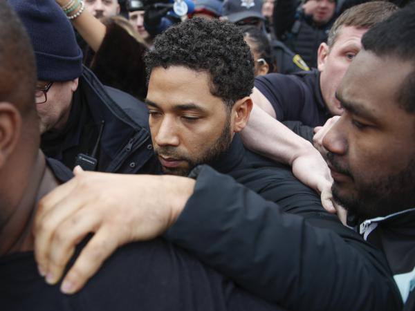 <em>Empire</em> actor Jussie Smollett leaves Cook County jail following his release in Chicago last month.