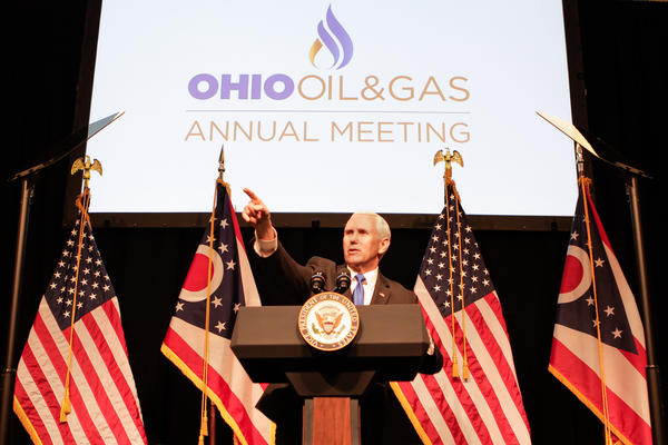 Vice President Mike Pence speaking at a meeting of the Ohio Oil and Gas Association in Columbus on March 8, 2019.