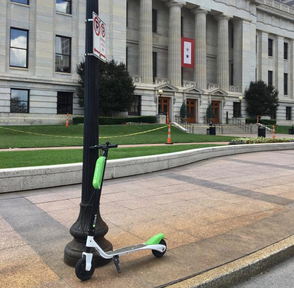 Scooter parked outside Ohio Statehouse