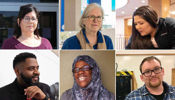 For some older college students, studying later in life has its advantages: They have skills and tools that could only have come with age and maturity. (Clockwise from top left: Santa Benavidez Ramirez, Liz Bracken, Taryn Jim, Matt Seo, Sakeenah Shakir, Jarrell Harris)