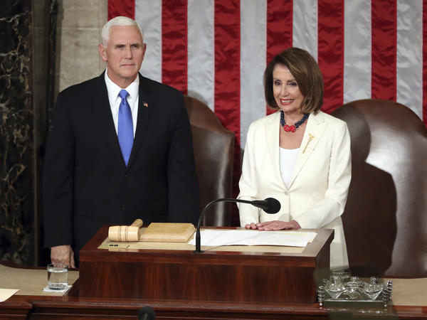 House Speaker Nancy Pelosi and Vice President Pence appear together before President Trump's State of the Union address on Feb. 5.