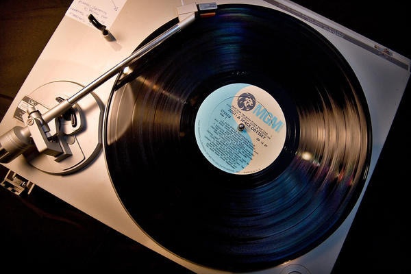 A Space Odyssey spins on the turntable at the Modern Hotel in downtown Boise, Idaho on Wednesday, March 26, 2008, where members of the Vinyl Preservation Society of Idaho meet once a month to promote the listening of vinyl records. (Troy Maben/AP)