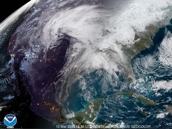 A satellite image from Wednesday morning shows a powerful storm system heading east across the U.S. The storm is expected to bring high winds, snow and rain to much of the central U.S. in the coming days.