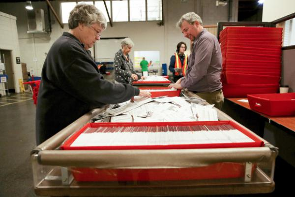 <p>Staff count ballots at the Multnomah County Elections Office in Portland, Ore. on Nov. 6, 2018.</p>