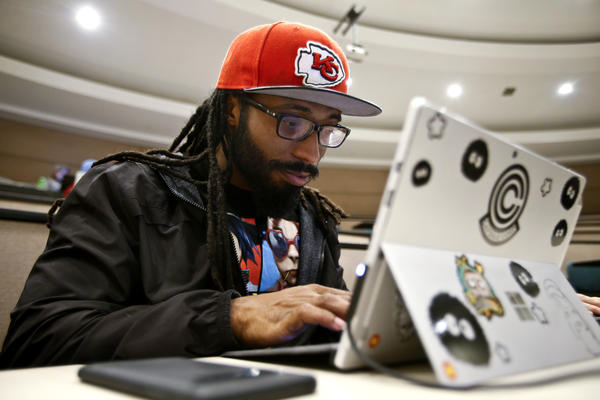 Yemeda Grayson works on a Java program at LaunchCode in Kansas City in December.
