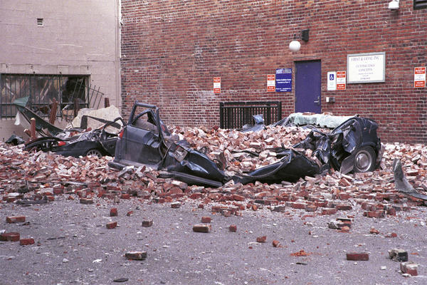 Damage from fallen bricks in Seattle's Pioneer Square district after the 2001 Nisqually Quake.