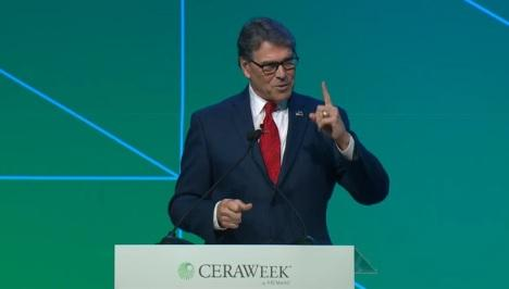 Energy Secretary Rick Perry spoke at the 2019 edition of CERAWEEK in Houston on March 13, 2019.