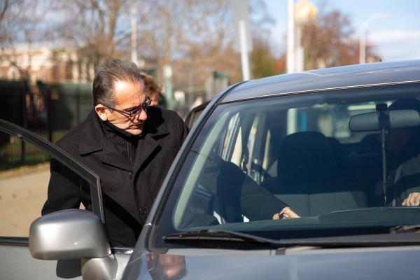 Former Hartford Mayor Eddie Perez leaving Hartford Superior Court on November 14, 2018, following arguments over his pension.