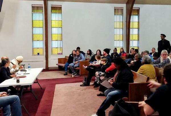The counterprotest meeting at The Inspiration Church in Dayton.