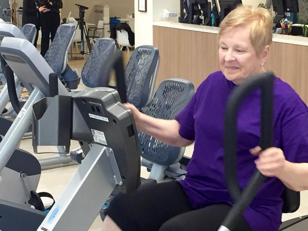 """<p>Retired Intel employee, Elyce Wair, had a heart bypass surgery five months ago and works out with a lot of other heart patients at Providence. She isn't worried that there might be two programs in competition with each other. """"I'm so excited for Oregon. It's wonderful.""""</p>"""