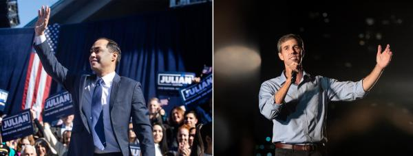 Julián Castro at his campaign announcement in January and Beto O'Rourke at a campaign event in September 2018.