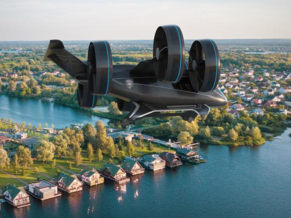 Bell's concept model of a vertical-takeoff-and-landing air taxi vehicle, as unveiled in January at CES (the Consumer Electronics Show) in Las Vegas.