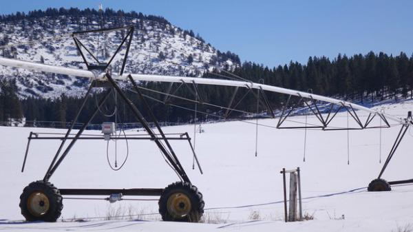 <p>Pivot irrigation sits dormant over winter on the Jespersen ranch. The farmers worry new high voltage power lines will reduce the amount of land they will be able to irrigate.</p>