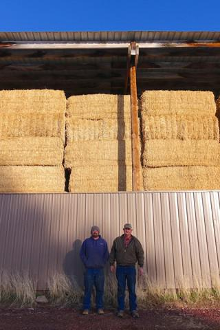<p>About seven miles of power lines from a new energy storage project near Klamath Falls would run right through Jacen (left) and Leonard Jespersen's farm and ranch. </p>