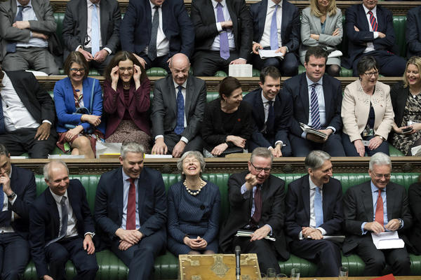 Handout photo issued by UK Parliament of Prime Minister Theresa May during the Brexit debate in the House of Commons, London. (UK Parliament/Jessica Taylor /PA Wire)