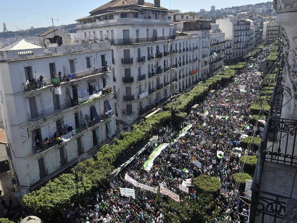 Algerians march during a protest in Algiers, Algeria, on Friday.