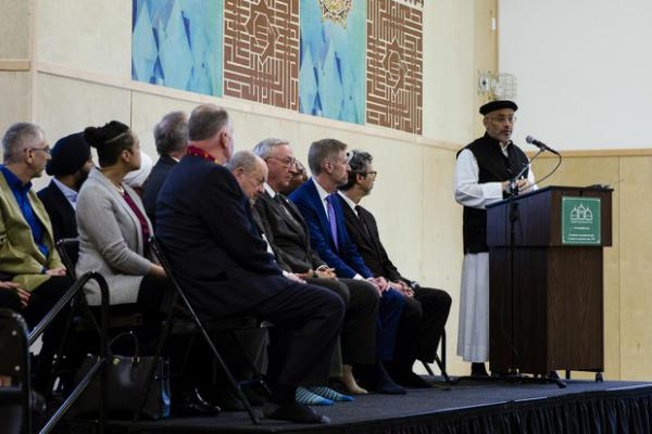 <p>Muslim Educational Trust president and co-founder Wajdi Saidspeaks at the Muslim Educational Trust in Tigard, Ore., March 15, 2019.</p>