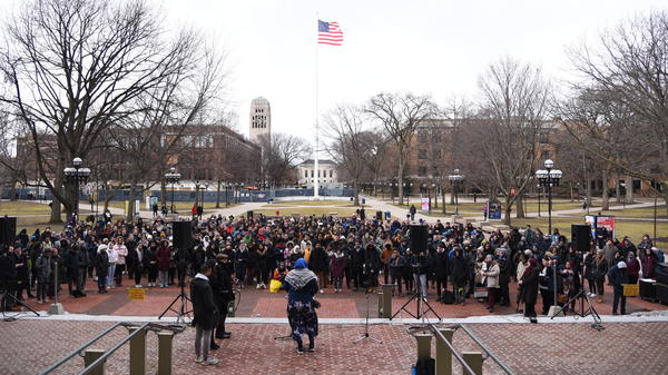 An interfaith vigil, offering prayers and support for the Muslim community, begins at the University of Michigan in Ann Arbor, Mich., on Saturday evening.