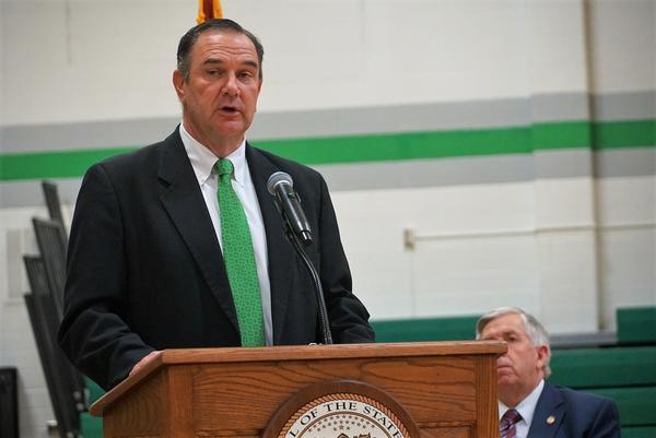 Lt. Gov. Mike Kehoe speaks at an event last week at Blair Oaks High School in Wardsville.
