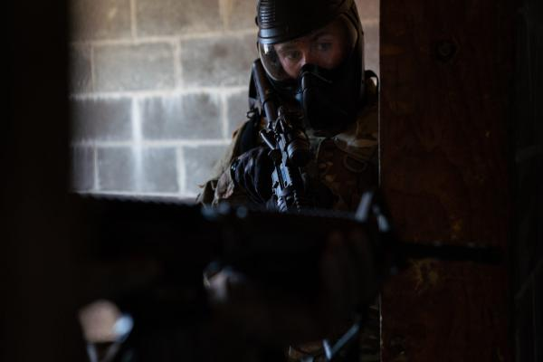 Pvt. Jeffrey Friberg with the Oregon National Guard's 741st Brigade Engineer Battalion clears a building on March 2, 2019  at Camp Rilea, Oregon. (Credit: Jonathan Levinson, OPB)