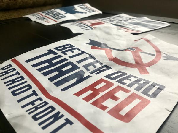 Posters that were found on the University of Utah campus from a white nationalist group with ties to the identitarian movement.
