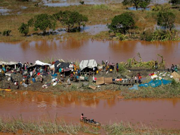 In the wake of Cyclone Idai, stranded locals take refuge on a strip of land in Buzi district, outside Beira, Mozambique.
