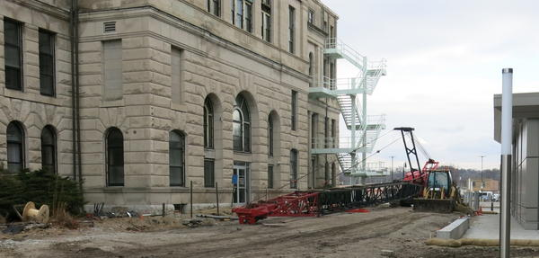 The boom has been attached to a crane as Valley Construction prepares to demolish the courthouse.