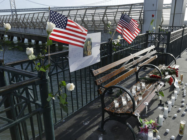 A memorial site to Kate Steinle is seen on San Francisco's Pier 14 on Dec. 1, 2017. A federal appeals court has dismissed her parents' lawsuit against the city for not telling immigration authorities when the man who killed her was released from custody.