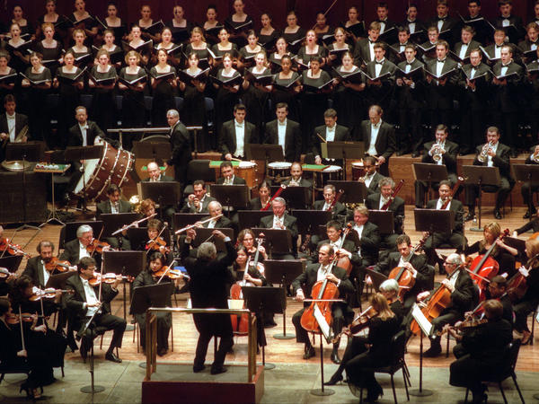 The Westminster Choir, performing with the New York Philharmonic and conductor Colin Davis in New York City in 2003.