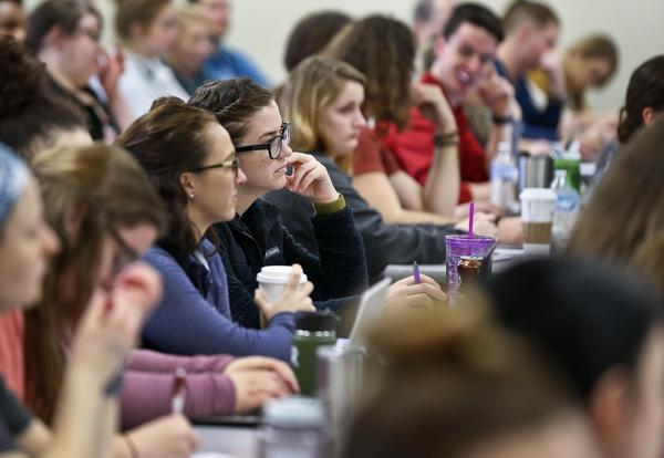 Washburn University students attend a lecture.