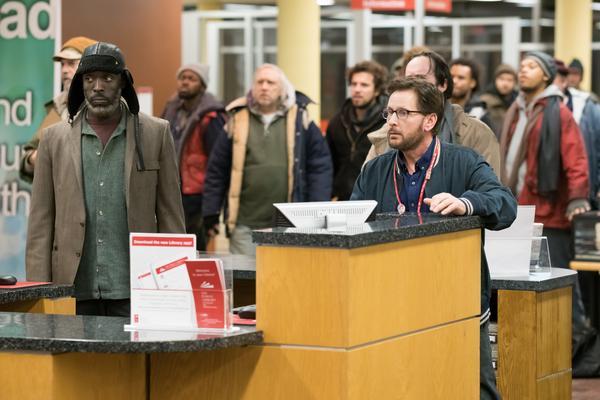 "Michael Kenneth Williams as Jackson and Emilio Estevez as Stuart Goodson in Universal Pictures Content Group's drama ""The Public."""