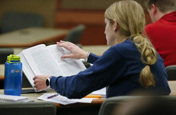 A student studies at a library at Washburn University in Topeka earlier this semester.
