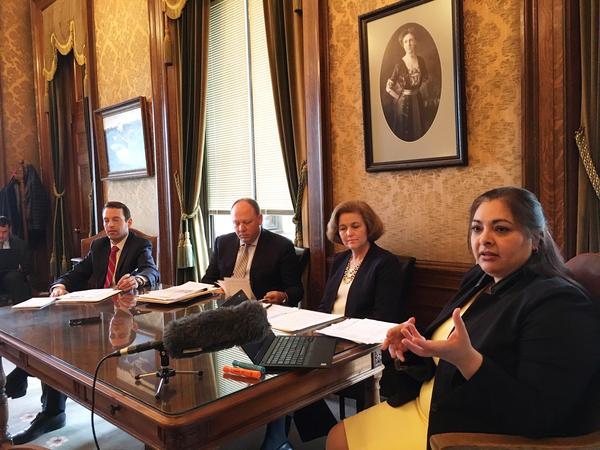 State Sen. Manka Dhingra speaks to reporters during a briefing on the Senate Democratic budget on Friday.