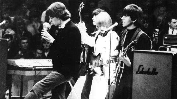 """The Rolling Stones performing in  Berlin in 1965. The band's 1965 hit """"(I Can't Get No) Satisfaction"""" made heavy use of Glenn Snoddy's fuzz tone."""