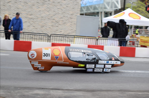 A further refined version of the battery-powered Beaver Bolt, seen here in 2018, will return to the Shell Eco-marathon competition for ultra-high efficiency vehicles.