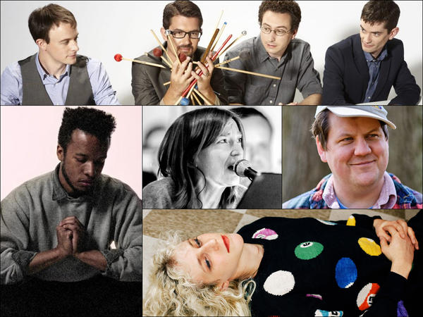 Clockwise from top row: Third Coast Percussion, Jake Xerxes Fussell, Julia Shapiro, Cautious Clay, Beth Gibbons