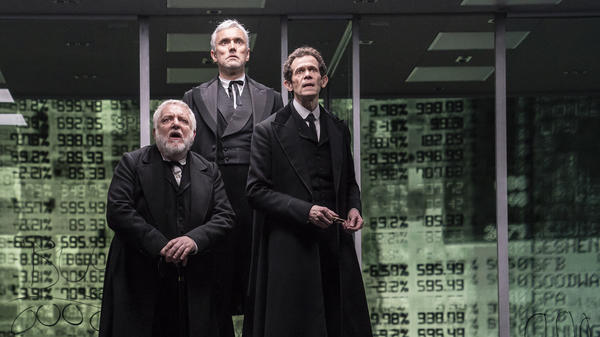Simon Russell Beale, Ben Miles and Adam Godley portray multiple characters in <em>The Lehman Trilogy</em>, about the rise and fall of Lehman Brothers.