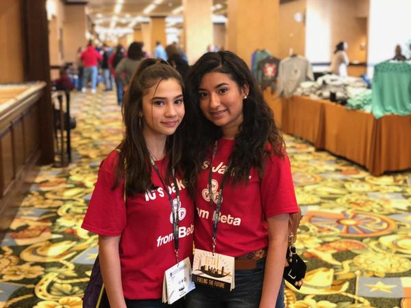 Abigail Rubio (left) has had a difficult time since the immigration raid in which her father was detained. But she says her friend and classmate, Leslie Lopez (right), has helped. Leslie says she prays for Abigail.