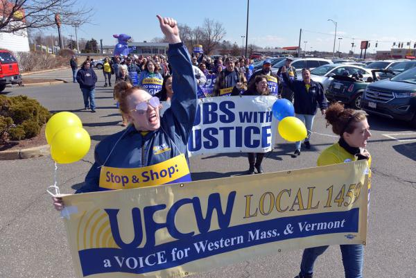Members of UFCW Local 1459 rallied outside a Stop and Shop store in Chicopee on March 20, 2019.