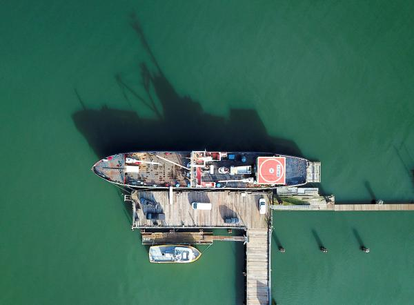 Overhead, drone's-eye view of the Salvage Chief.