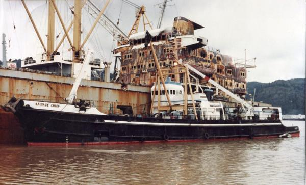 In 1982, the Salvage Chief responded to a ship fire on the Protector Alpha on the Columbia River upriver of Longview.